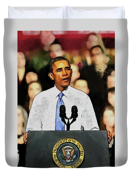 Duvet Cover featuring the digital art Barack Obama by Kai Saarto