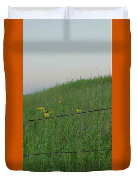 Barb Wire Prairie Duvet Cover