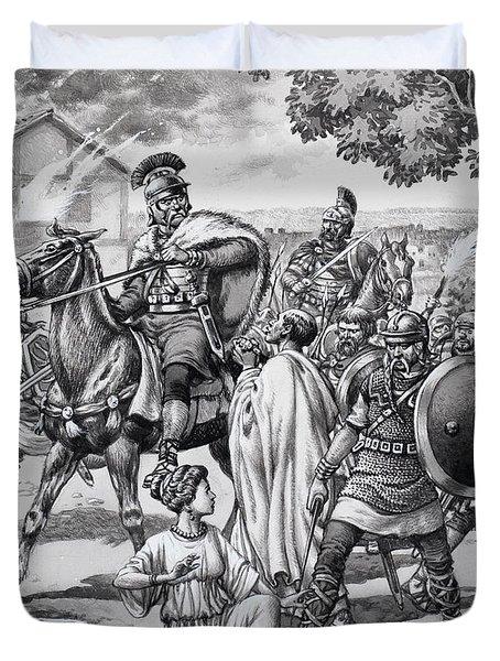 Barbarian Attack On The Romano British Duvet Cover