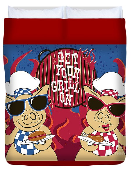 Barbecue Pigs Duvet Cover