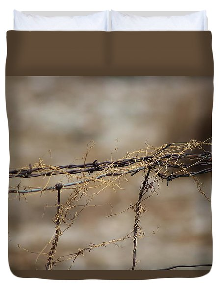Barbed Wire Entwined With Dried Vine In Autumn Duvet Cover