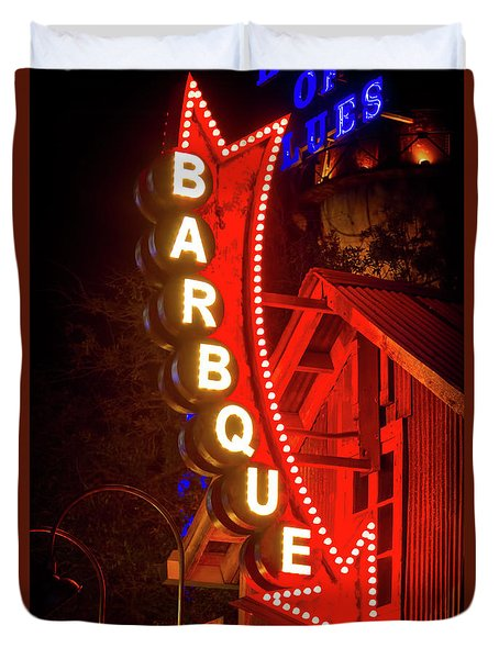 Duvet Cover featuring the photograph Barbeque Smokehouse by Mark Andrew Thomas