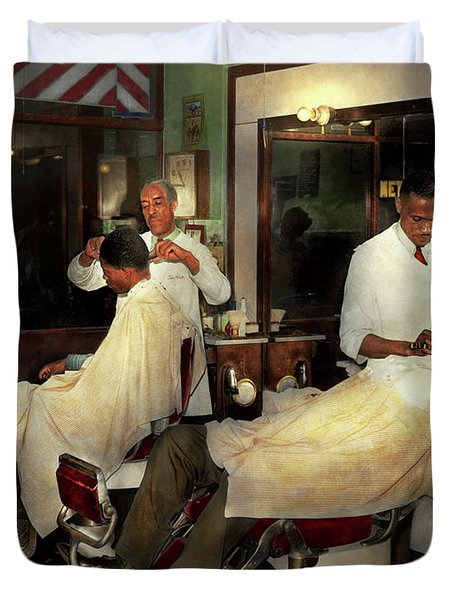 Duvet Cover featuring the photograph Barber - A Time Honored Tradition 1941 by Mike Savad