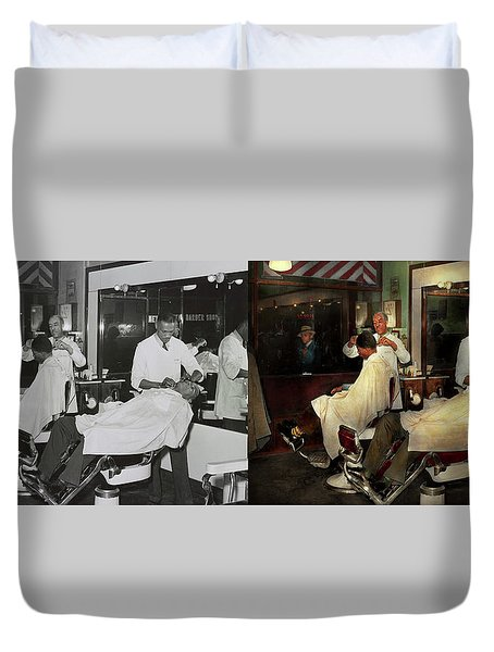 Duvet Cover featuring the photograph Barber - A Time Honored Tradition 1941 - Side By Side by Mike Savad