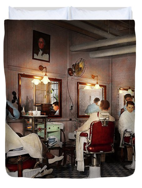 Duvet Cover featuring the photograph Barber - Senators-only Barbershop 1937 by Mike Savad