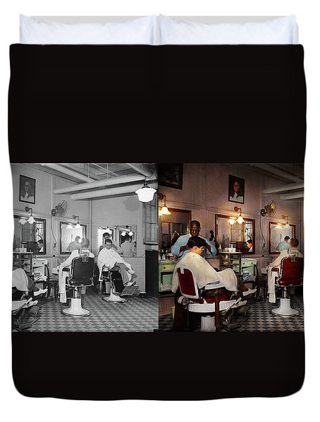 Duvet Cover featuring the photograph Barber - Senators-only Barbershop 1937 - Side By Side by Mike Savad
