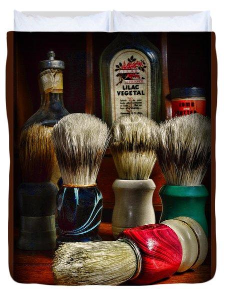 Barber - Shaving Brushes Duvet Cover by Paul Ward