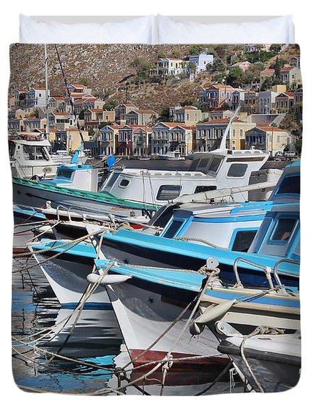 Harbour Of Simi Duvet Cover