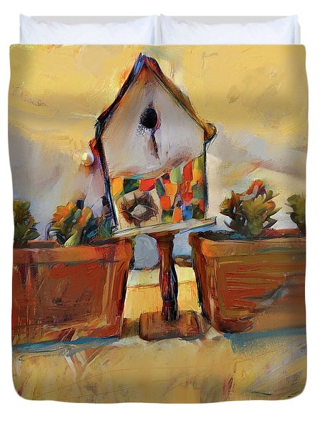 Barb's Bird House Duvet Cover
