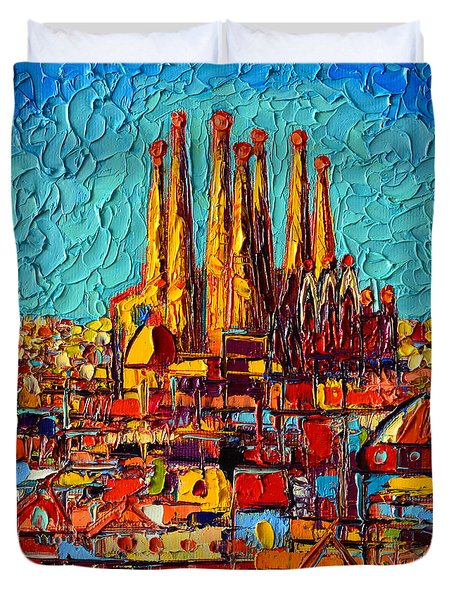 Barcelona Abstract Cityscape - Sagrada Familia Duvet Cover by Ana Maria Edulescu
