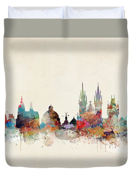 Duvet Cover featuring the painting Barcelona City Skyline by Bri B
