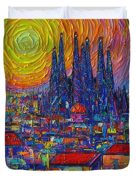 Barcelona Colorful Sunset Over Sagrada Familia Abstract City Knife Oil Painting Ana Maria Edulescu Duvet Cover
