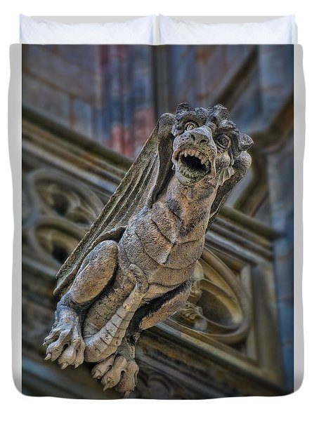 Duvet Cover featuring the photograph Barcelona Dragon Gargoyle by Henry Kowalski