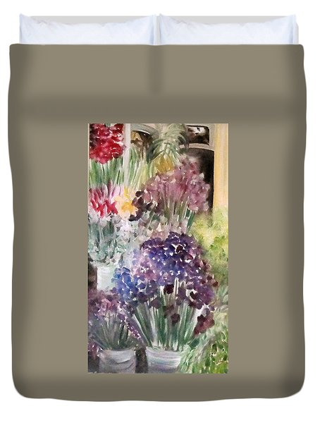 Barcelona Flower Mart Duvet Cover