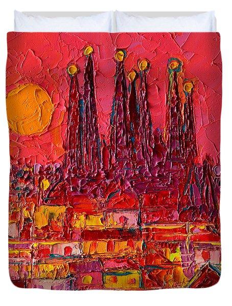 Barcelona Moon Over Sagrada Familia - Palette Knife Oil Painting By Ana Maria Edulescu Duvet Cover by Ana Maria Edulescu