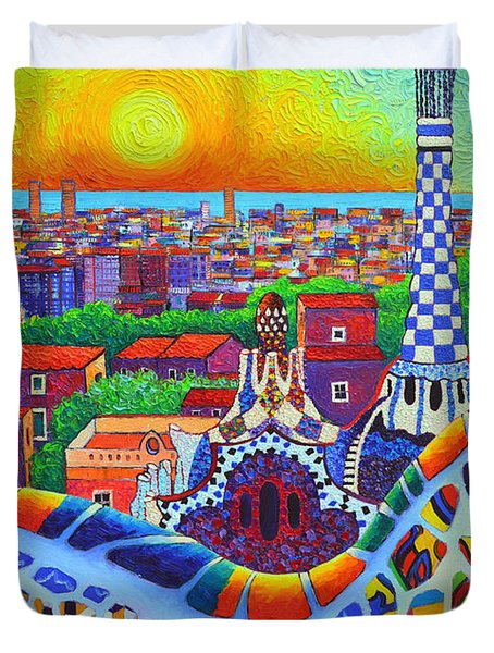 Barcelona Park Guell Sunrise Gaudi Tower Textural Impasto Knife Oil Painting By Ana Maria Edulescu Duvet Cover