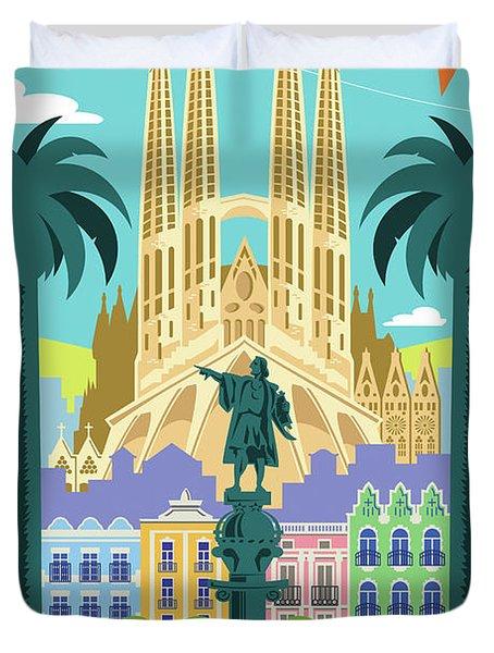Barcelona Poster - Retro Travel  Duvet Cover