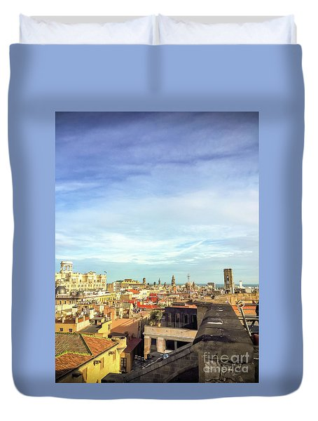 Duvet Cover featuring the photograph Barcelona Rooftops by Colleen Kammerer