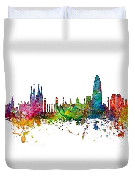 Barcelona Spain Skyline Panoramic Duvet Cover