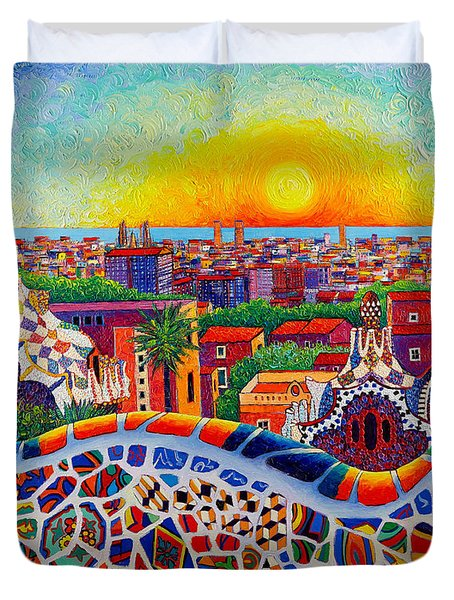 Barcelona Sunrise Colors From Park Guell Modern Impressionism Knife Oil Painting Ana Maria Edulescu Duvet Cover