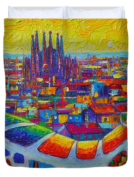 Barcelona View Sagrada From Park Guell Impressionist Abstract City Knife Painting Ana Maria Edulescu Duvet Cover