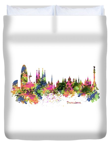 Barcelona Watercolor Skyline Duvet Cover by Marian Voicu