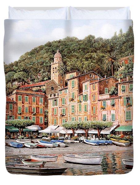 barche a Portofino Duvet Cover