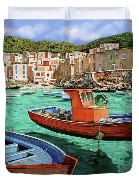 Barche Rosse E Blu Duvet Cover