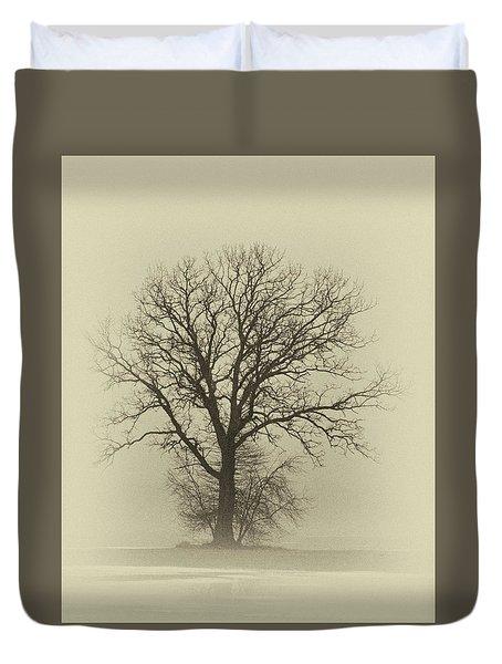 Bare Tree In Fog- Nik Filter Duvet Cover by Nancy Landry