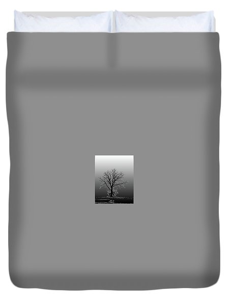 Bare Tree In Fog- Pe Filter Duvet Cover by Nancy Landry