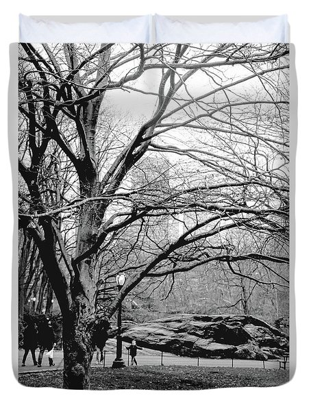 Bare Tree On Walking Path Bw Duvet Cover by Sandy Moulder
