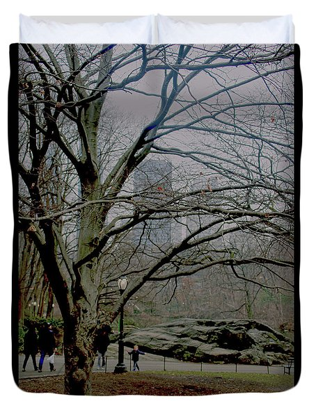 Bare Tree On Walking Path Duvet Cover by Sandy Moulder