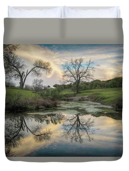 Bare Tree Reflections Duvet Cover