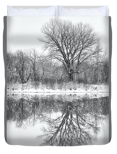 Duvet Cover featuring the photograph Bare Trees by Darren White
