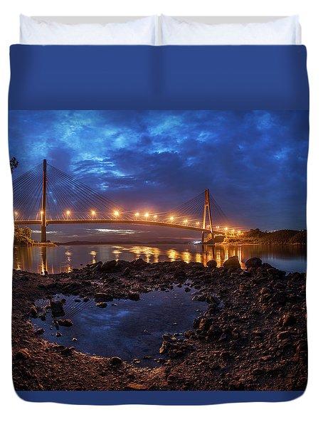 Duvet Cover featuring the photograph Barelang Bridge, Batam by Pradeep Raja Prints
