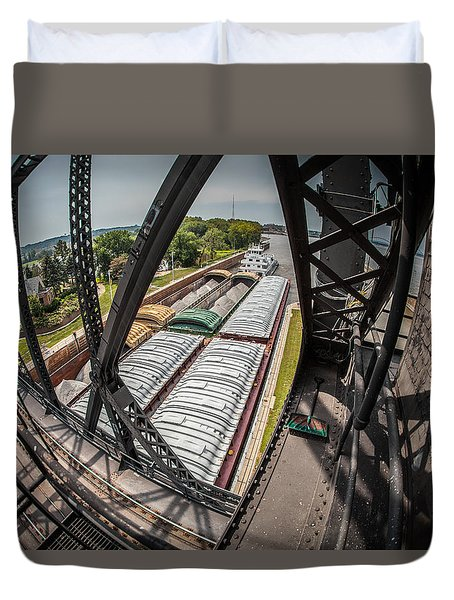 Barge Traffic  Duvet Cover by Ray Congrove