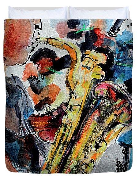 Baritone Saxophone Mixed Media Music Art Duvet Cover