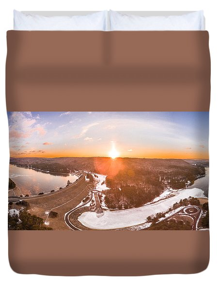 Duvet Cover featuring the photograph Barkhamsted Reservoir And Saville Dam In Connecticut, Sunrise Panorama by Petr Hejl