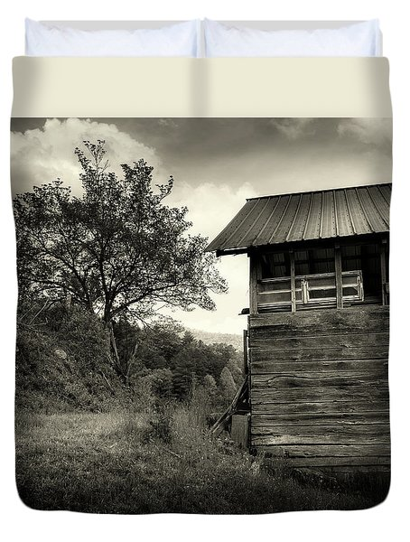 Barn After Rain In Sepia Duvet Cover