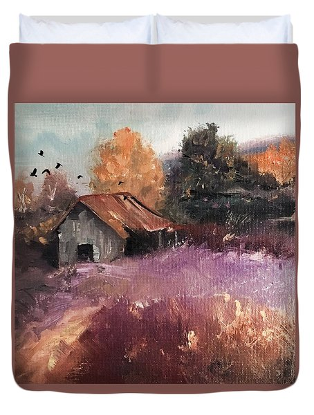Barn And Birds  Duvet Cover by Michele Carter