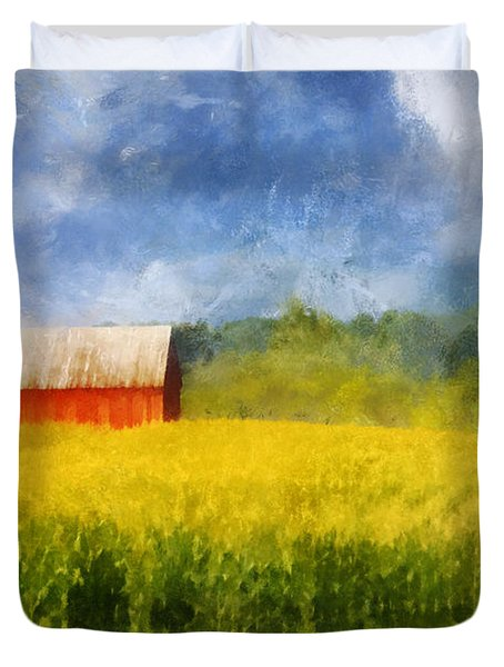 Duvet Cover featuring the digital art Barn And Cornfield by Francesa Miller