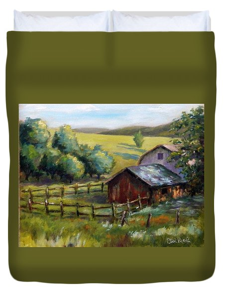 Barn And Field Duvet Cover