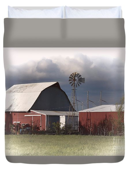 Barn And Windmill Duvet Cover by Erica Hanel