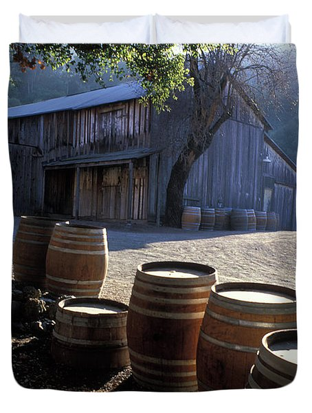 Barn And Wine Barrels Duvet Cover by Kathy Yates