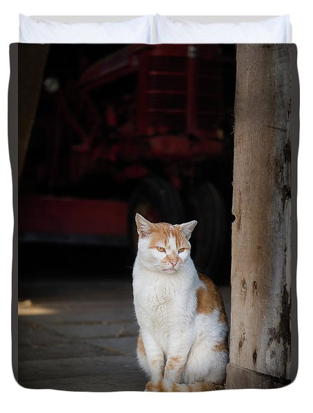 Barn Cat And Tractor Duvet Cover