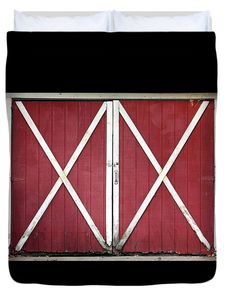 Duvet Cover featuring the photograph Red Barn Doors by Sheila Brown
