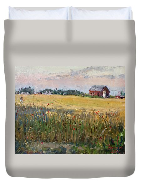 Barn In A Field Of Grain Duvet Cover