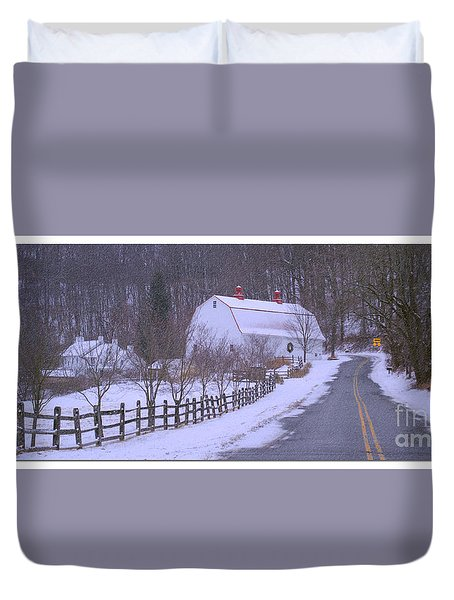 Duvet Cover featuring the photograph Barn In Blizzard by Rima Biswas