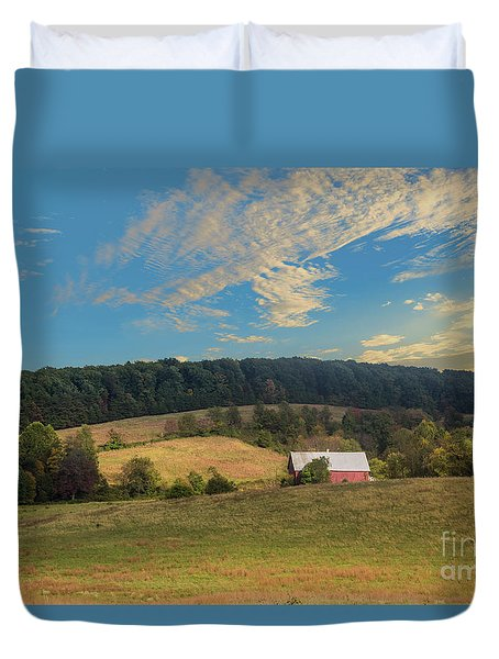 Barn In Field Duvet Cover
