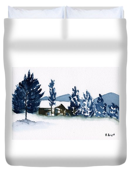Duvet Cover featuring the painting Barn In The Hudson Valley by Frank Bright